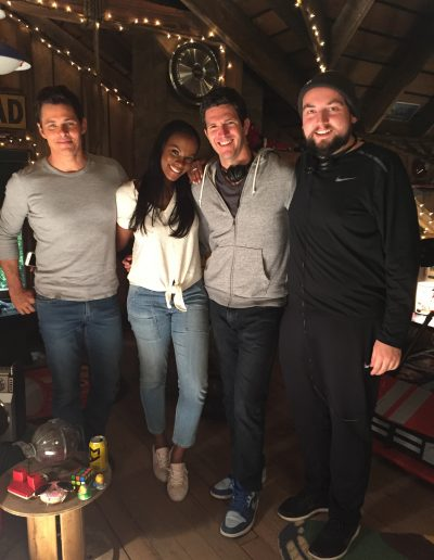 "James Marsden, Tika Sumpter, Director Jeff Fowler and Scott on the set of ""Sonic the Hedgehog"""