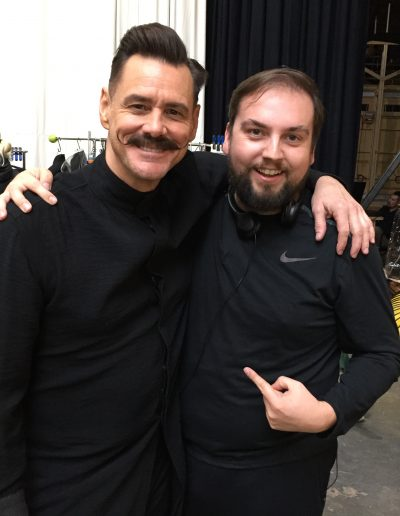 "Jim Carrey and Scott on the set of ""Sonic The Hedgehog"""