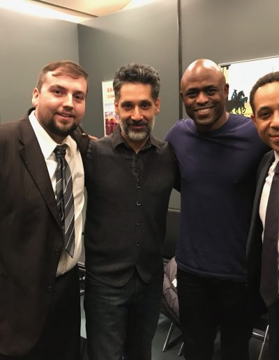 "Scott, Stephen Lobo, Wayne Brady and Dale Godboldo on the set of ""Colony"""
