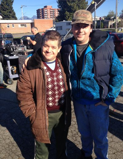 "Patton Oswalt and Scott on the set of ""The Confirmation"""
