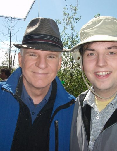 "Steve Martin and Scott on the set of ""The Big Year"""