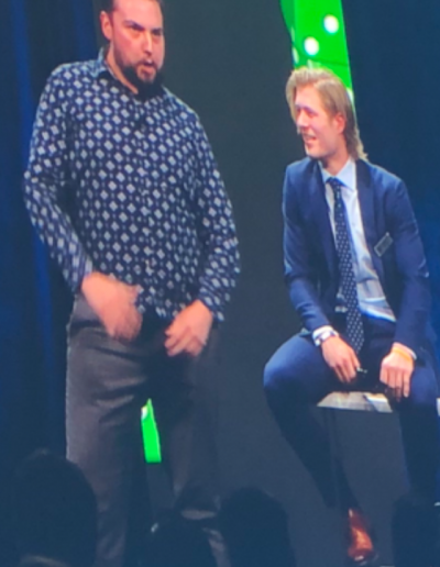 Scott performing at the Vancouver Canucks DICE On ICE Event in 2017 with Brock Boeser.